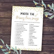 Disney Bridal Shower Games Match The Disney Love Songs Game