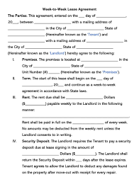 This rental agreement identified below is entered into by and between the landlord and. Free Week To Week Weekly Rental Lease Agreement Templates