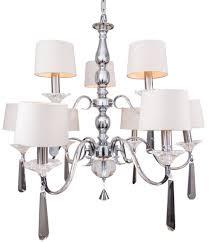9 arm nickel and black crystal chandelier