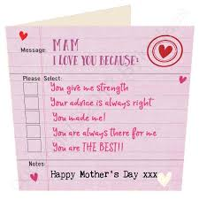 Mam I Love You Because Geordie Mother's Day Card Tyneside Prints New I Love You Because
