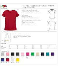 Fruit Of The Loom Ladies T Shirt Size Guide Nils Stucki