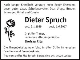 Dieter Spruch Traueranzeige Wochen Kurier