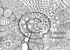 Small Picture Printable Download Coloring Page Hand Drawn Zentangle Inspired