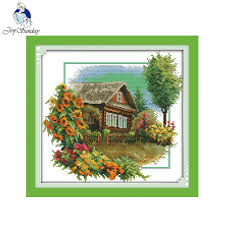 Us 6 73 49 Off Joy Sunday Scenery Style House With Flowers Pinterest Cross Stitch Free Charts Fantasy Stitch Stamped Cross Embroidery Design In