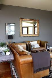 gray walls brown furniture. we are gonna need one leather couch to balance out all the feminine i inevitably will gray walls brown furniture c