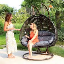 Durable Double Seat Hanging Swing Egg Chair Patio Furniture Latte