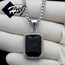 details about 18 36 men stainless steel 3mm silver box chain necklace black onyx pendant p98
