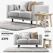 ikea norsborg two seat sofa with side table and rug 3d model max obj mtl
