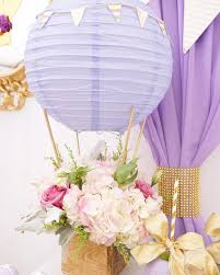 Purple & Gold Hot Air Balloon Baby Shower