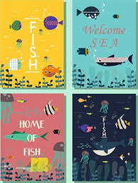 marine book cover templates fish icons colored cartoon free png and psd