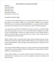 Pattern Of Reference Letter Example Of Reference Letter Template Business