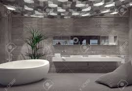 Modern Grey Luxury Bathroom Interior With A Free-standing Boat ...