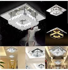 modern square crystal led ceiling light