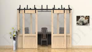 10ft byp sliding barn wood closet door rustic black hardware for 4 barn doors