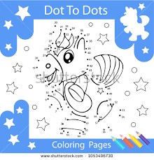 worksheets dot to dots with drawn the unicorn children funny drawn riddle coloring page