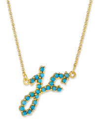 jennifer creel turquoise initial pendant necklace in 14k gold