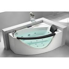 eago 59 inch rounded clear modern corner acrylic whirlpool bath tub with left side drain