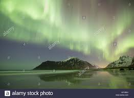 northern lights aurora borealis over skagsanden beach