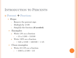i ntroduction to p ercents percent fraction steps 1