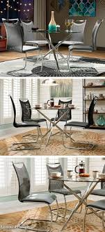 contemporary style is perfectly portra by the new nico dining collection the metallic shine makes