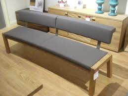 furniture grey leather dining bench with backrest and light brown