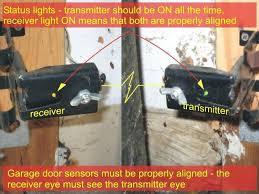 garage door opener sensor garage door sensors alignment and status lights craftsman garage door opener sensor lights not on chamberlain garage door opener