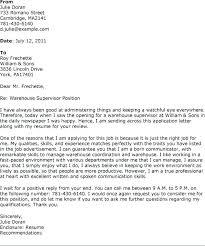 Warehousing Cover Letter Warehouse Supervisor Sample Resume Manager
