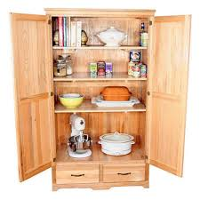 unfinished wood freestanding kitchen pantry cabinet with ample shelves inside plus double drawers gorgeous kitchen
