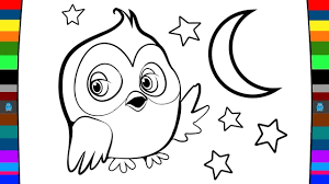 Small Picture How to Draw Owl Moon and Stars Drawing and Coloring Page for