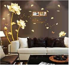 images gallery golden flower 3d wall sticker home decor beauty tulip wall decal for living room wallpaper