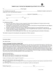 thirty day notice of resident intent to vacate sample letter 30 day notice to vacate