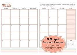 monthly planner free download april personal planner pages free printable