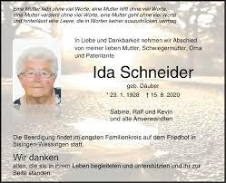 Traueranzeigen von Ida Schneider   Südwest Presse Trauer