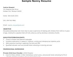 Sample Resume Nanny Nanny Resume Examples Sample Of Nanny Resume