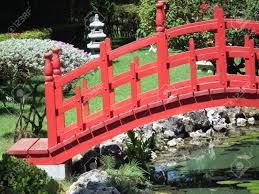 Japanese Style Garden Bridges Garden Bridge Red Asian Bridge In Garden Stock Photo Home