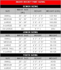 Bauer Hockey Pants Size Chart Chart Images Online