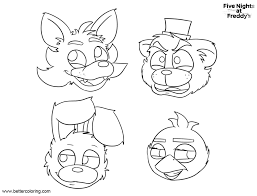 Fnaf Coloring Pages Five Nights At Freddys Bonnie Foxy Mangle Free