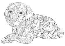 Adult Coloring Page A Cute Dog For Relaxingzen Art Style