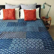 Hand Block Print Indigo Kantha Quilt Throw Bedspread ... & Hand Block Print Indigo Kantha Quilt Throw Bedspread Adamdwight.com