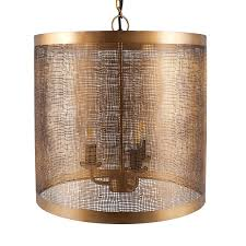 antique brass mesh 3 light pendant