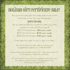 holiday gift certificate minneapolis baby child photographer gift certificates