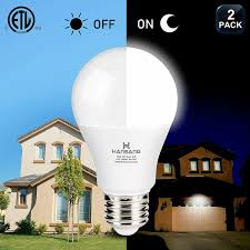 Dimmable Dusk To Dawn Light 2 Pack A19 Led Dusk To Dawn Light Bulb 5000k Daylight 9w Porch Light Bulbs