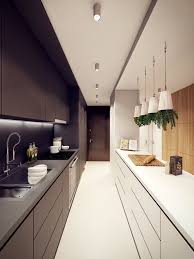 narrow kitchen designs: long narrow kitchen in white and black colors