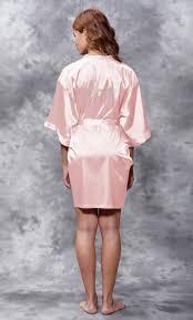Light Pink Kimono Robe Bride Clear Rhinestone Satin Kimono Light Pink Short Robe