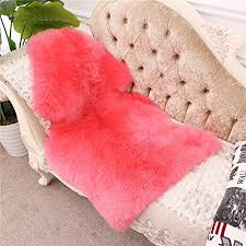 genuine australian sheepskin rug for babies singel natural luxuriously soft shorn lambskin wool 28x43in pink