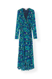 Printed Mesh Wrap Dress Ganni