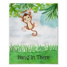 Cute Baby Monkey Hang In There Quote Nursery Poster Zazzle