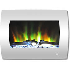 curved wall mount electric fireplace in white with multi color flames and log display