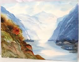 Watercolor Mountain River by Fern Smith - shopgoodwill.com