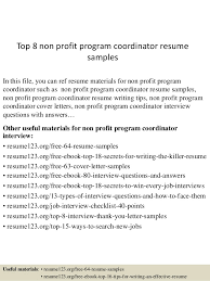 Top 8 non profit program coordinator resume samples In this file, you can  ref resume ...